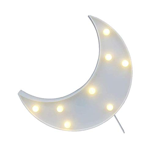 Cute 3D Moon Sign Decor Light,LED Plastic Moon Shaped Sign-Lighted Marquee Moon Sign Wall Decor for Chistmas,Birthday Party,Kids Room, Living Room, Wedding Party Decor(White)