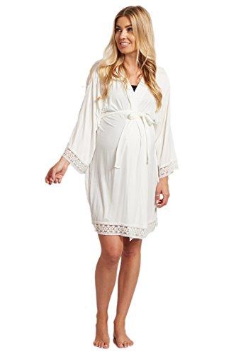 PinkBlush Maternity Ivory Lace Trim Dressing Robe, (Ivory Lace Trim Dress)