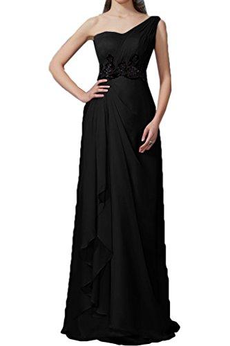 Chiffon Pizzo abito da abito Nero Una Applicazione vestito Donna Fest sera Prom ressing Spalla ivyd 7c1PZWYqq