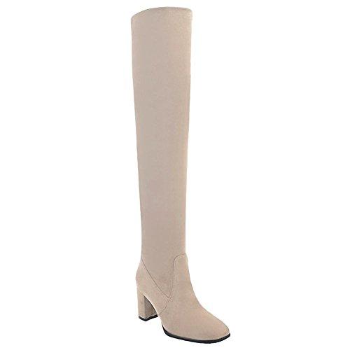 Mee Shoes Damen chunky heels langschaft ohne Verschluss Stiefeletten Aprikose