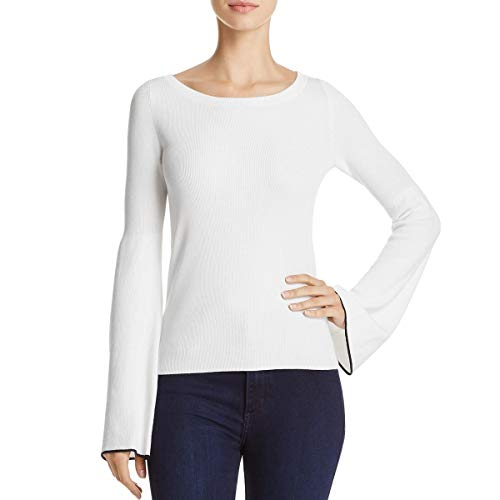 (Theory Womens Bell Sleeves Boatneck Pullover Sweater Ivory S)
