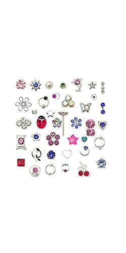20 Pack 925 Sterling Silver Nose Studs Rings Mixed Sizes 22G ()