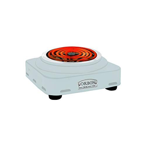 ORBON Square 1250 Watts Electric Coil Cooking Stove | Hookah Coal Burner | Electric Cooking Heater | Induction Cooktop | G Coil Hot Plate Cooking Stove | Works With All Metal Cookwares (Silver Chrome)