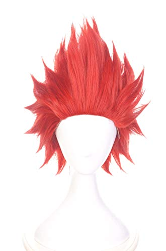 Topcosplay Unisex Anime Cosplay Wig Short Red Costume Wigs Synthetic Fiber Halloween Wig]()