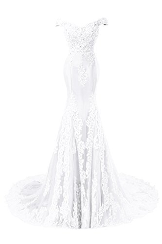 Himoda Women's V Neckline Beaded Evening Gowns Mermaid Lace Prom Dresses Long H074 12 White by Himoda