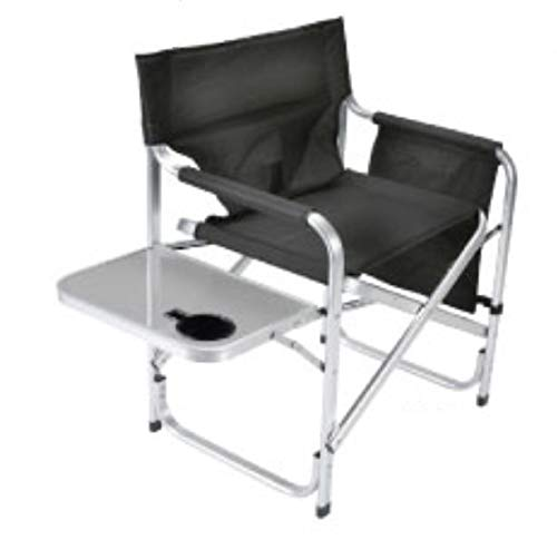 Faulkner Aluminum Director Chair with Folding Tray and Cup Holder, Black (Softball Desk Chair)