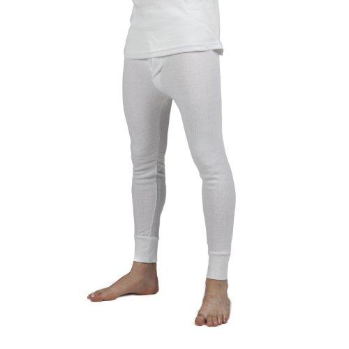 Mens Thermal Underwear Long Johns (British Made) (Waist: 33-35inch (Medium)) (White)