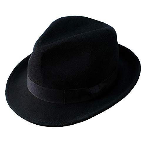Wool Trilby Hat Felt Fedora Hats Men Women Dress Wide Brim Gangster in Brown Black Gray Blue(L, Black)