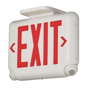 (Dual-Lite EVCURWD4 LED Exit Sign & Emergency Light Combo, 1.7W Red Letters Remote Damp Listed - White)