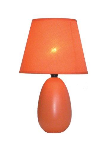Simple Designs Home LT2009-ORG Mini Oval Egg Ceramic Table Lamp, 5.51