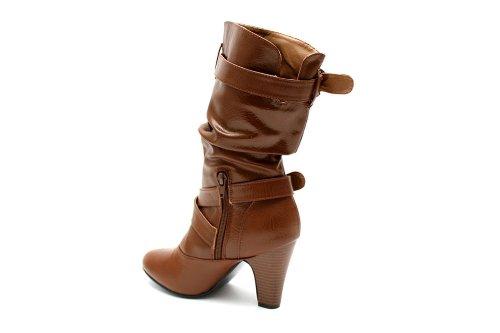 F10389T , Bottes plissées à talon moyen , boucle , femme , UK8 EU41  Amazon.fr Chaussures et Sacs