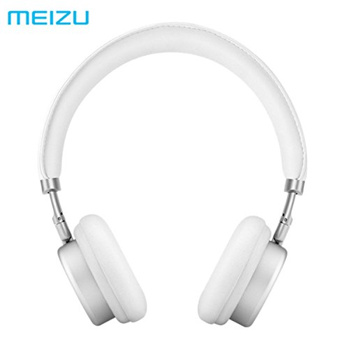 Original MEIZU HD50 Adjustable HIFI Stereo Metal Headphone Headset With Mic, Silver & White
