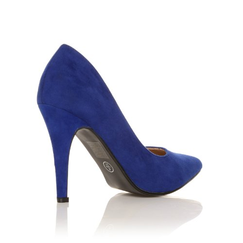 DARCY Electric Blue Faux Suede Stilleto High Heel Pointed Court Shoes Het1q