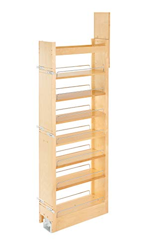 Rev-A-Shelf 8 in W x 58 in H Wood Pantry Pullout Soft Close, Natural