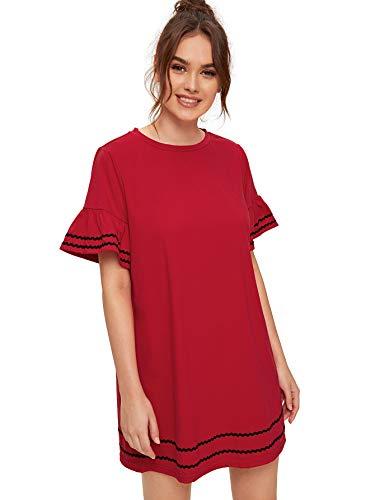 Verdusa Women's Round Neck Contrast Flounce Short Sleeve Plain Dress Red S