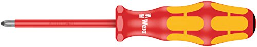 Wera 05006162001 Kraftform Plus VDE 165i Pozidriv Insulated Screwdriver, PZ 1 Head, 3-1/8
