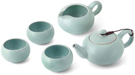 日本茶・茶道道具 磁器カンフーティーセット家庭用ティーポットスクエアカップエナメルティーカップギフトボックスのセット ティー用品 (Color : Blue)
