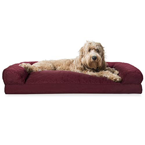 Furhaven Pet Dog Bed | Quilted Pillow Cushion Traditional Sofa-Style Living Room Couch Pet Bed w/ Removable Cover for Dogs & Cats, Wine Red, Large