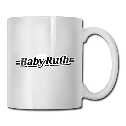 14.72 Oz White Ceramic Coffee Mug with Ba-be-Ru-th-Name-Black-Loog, used for sale  Delivered anywhere in Canada