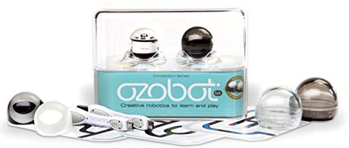 Ozobot 2.0 Bit Smart Robots, Crystal White/Titanium Black, Pack of 2