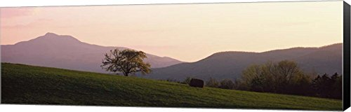(Camels Hump, Waterbury, VT by Panoramic Images Canvas Art Wall Picture, Museum Wrapped with Black Sides, 34 x 11 inches)