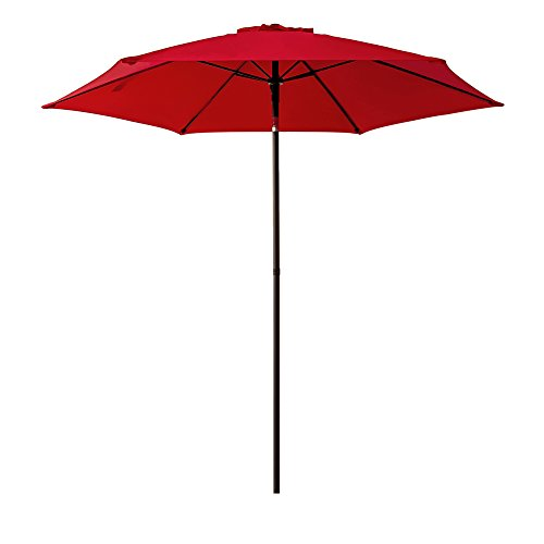 FLAME&SHADE 7ft 5in Round Outdoor Patio Market Umbrella Push Button Tilt, Red by FLAME&SHADE