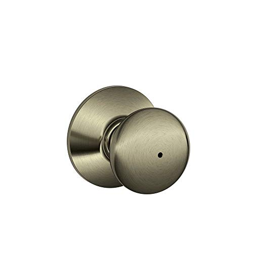 Schlage F40PLY 609 16-080 10-027 Plymouth Bed and Bath Knob, Antique Brass