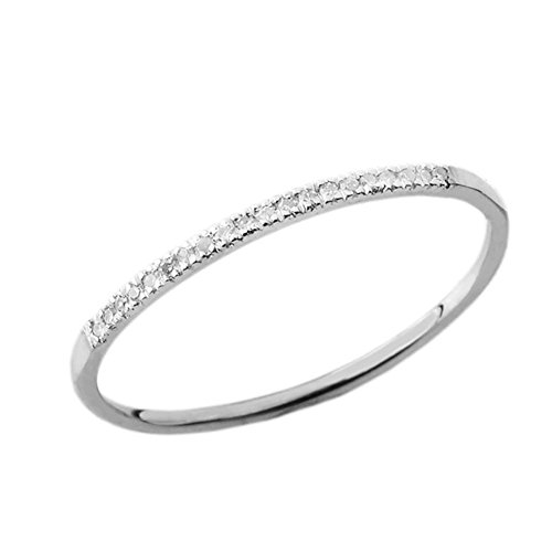 (Dainty Modern Diamond Stackable Wedding Band in 10k White Gold (Size 6.25))