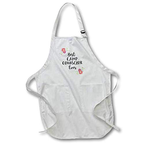 - 3dRose InspirationzStore - Love Series - Floral Best Camp Counselor Ever Pretty Watercolor Pink Summer Flowers - Full Length Apron with Pockets 22w x 30l (apr_316128_1)