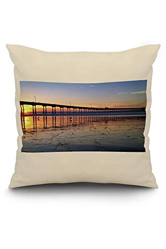 Lantern Press Sunset at Beach Pier, Ocean Beach, San Diego, California Photography A-93700 (20x20 Spun Polyester Pillow, White ()