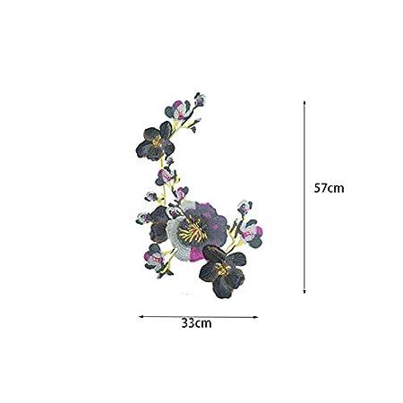 1 Pieza Exquisito Estilo /étnico peon/ía patr/ón de Flores Vestido de la Bolsa Bordado Decorativo Pegatinas de Tela Accesorios de Ropa calcoman/ías Verde 33cm*57cm iTemer