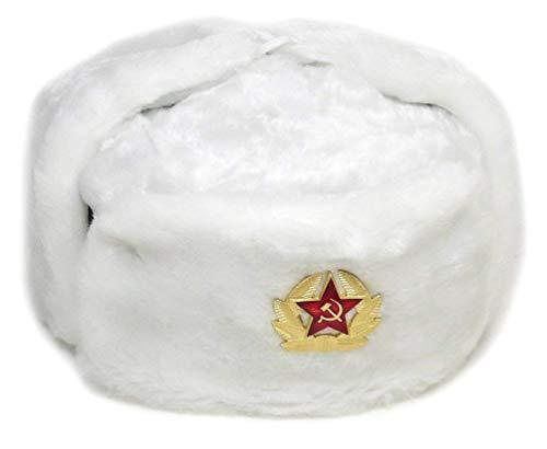 Russian Soviet Army Fur Military Cossack Ushanka Hat (White, 60/L)