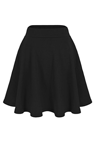 Basic Solid Stretchy Cotton High Waist A-line Flared Skater Mini Skirt (M, Black)