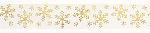 Gold/Ivory Snowflakes Ribbon - 36mm x 1m