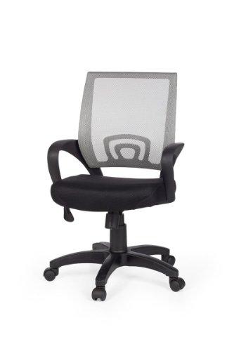 Amstyle Rivoli Chaise de bureau avec accoudoirs Revêtement tissu/mesh Noir/gris
