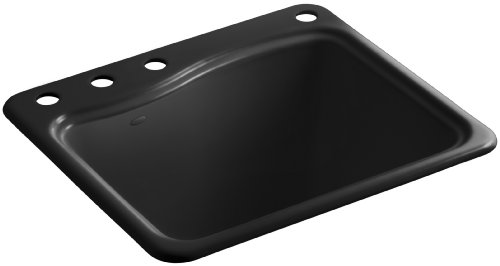 Kohler K-6657-4-7 River Falls Self-Rimming Sink with Three-Hole Faucet Drilling, Black Black