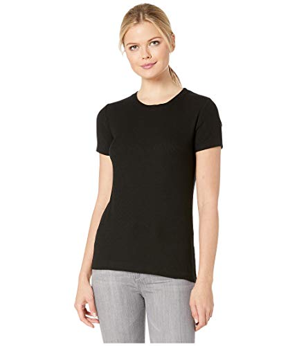 Three Dots Women's Viscose Ribbed Crewneck, Black, Large ()