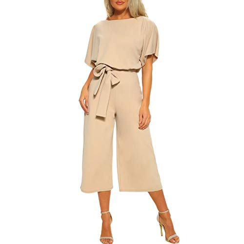 (Zainafacai Women Jumpsuit Rompers,Short Sleeve Playsuit Clubwear Wide Leg Jumpsuit with Belt (XL, Beige @))