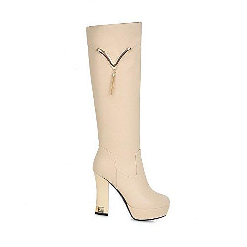 AllhqFashion Damen Hoher Absatz Rein Rund Zehe Reißverschluss Stiefel mit Metallisch, Aprikosen Farbe, 33