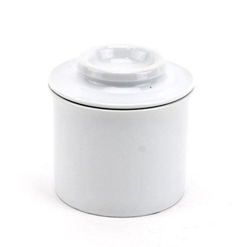 Porcelain Butter Keeper, European French Style Butter Crock With Water - White