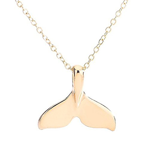 BYyushop Retro Jewelry Women Whale Tail Fish Nautical Charm Mermaid Tail Pendant Necklace - Golden