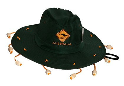 Green Swaggy Hat with Kangaroo Roadsign Emblem & Corks (Kangaroo Road Sign)