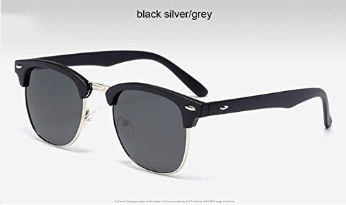 espejo Black gafas metal Gafas alta clásico sol medio Silvergray3016 de calidad de de de Moda de de ZHANGYUSEN hombre sol Remache PnqwEZxHH