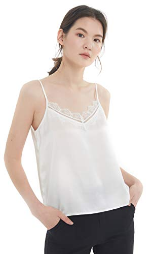 (LilySilk Silk Camisole for Women with Lace Patched 100 Pure Silk Tops for Ladies Basic Lightweight White Medium)