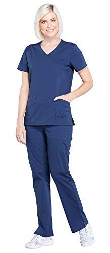 Cherokee Workwear Professionals Women's Mock Wrap Scrub Top WW655 & Women's Drawstring Scrub Pants WW160 Medical Uniforms Scrub Set (Navy - Small/Small Petite) ()