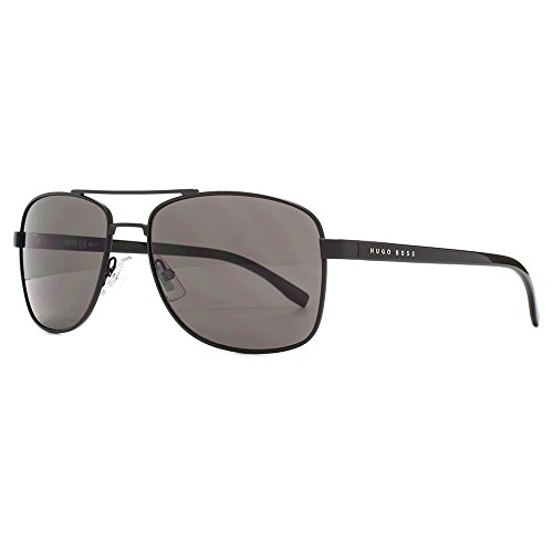 Hugo Boss BOSS 0762/S 010G-NR Aviator Sunglasses Matte Black/Brown Grey Lens