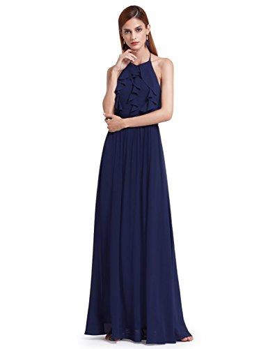 Neck Chiffon Ruffle Dress (Ever-Pretty Women Maxi Formal Halter Neck Holder Backless Ruffles Chiffon Bridesmaids Dress 6US Navy Blue)