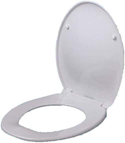 CXMWYトイレのふた 浴室用緩衝パッドクイックリリース付き便座Oシェイプトイレのふた超耐性トップマウントトイレカバー、ホワイト-41-46 * 37センチメートル