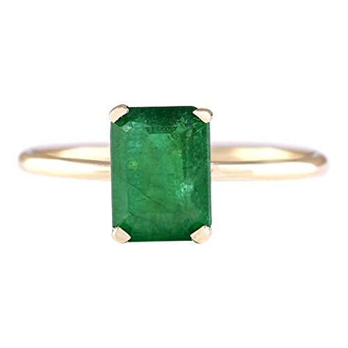 (1.4 Carat Natural Green Emerald 14K Yellow Gold Solitaire Engagement Ring for Women Exclusively Handcrafted in USA)