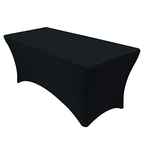 VEEYOO Spandex Table Cover 4/6/8 Feet Stretch Fitted Polyester Tablecloth, Durable Table Cover for Party Wedding Celebration Buffet Trade Shows, 6ft Table Cover (72 x 30 x 30 inch), Black (30 Table Games)